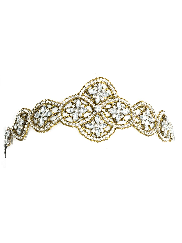 Bohomonde Indira Headband Gold & Crystal beaded headband Boho Headpiece $19.95 AT vintagedancer.com