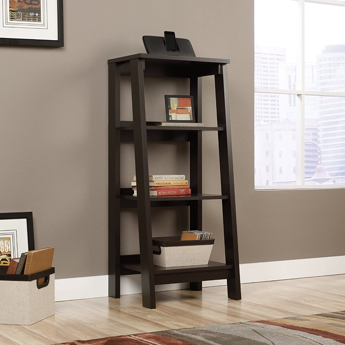Sauder 414565 Bookcases, Furniture Trestle Jamocha Wood 3-Shelf