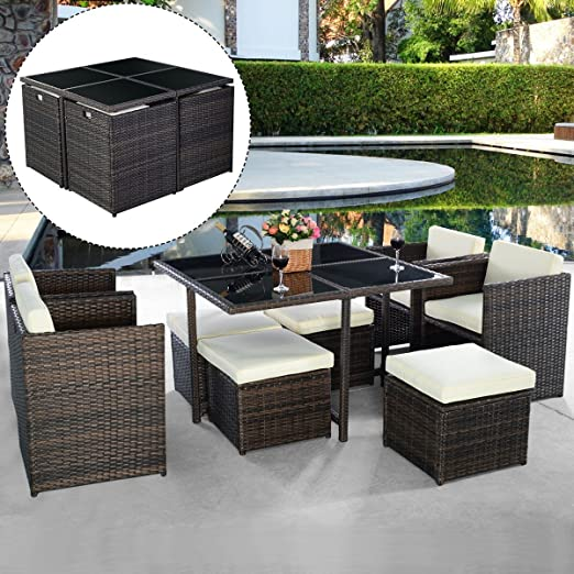 MASCARELLO® 9PC Rattan Garden Home Furniture Dining Table Chairs Set Patio Wicker Sofa Brown