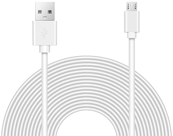 25ft Power Extension Cable for Wyze Cam, Blink, Yi, Oculus Go, Drop Cam, and Security Cameras (Color: white)