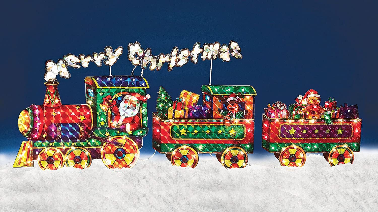 Merry Christmas Train Yard Art Outdoor Holiday Decoration | Christmas ...
