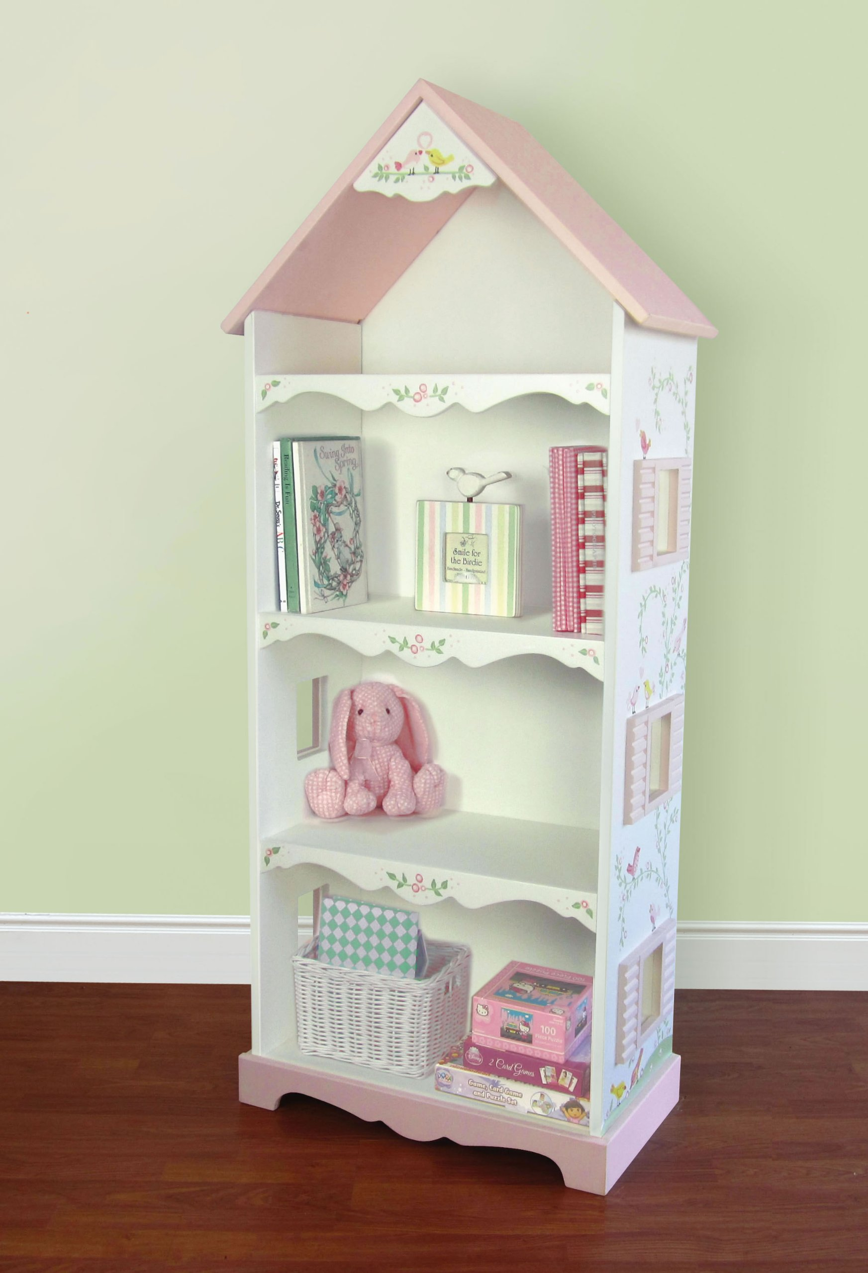 Hand Painted Love Birds Dollhouse Bookshelf