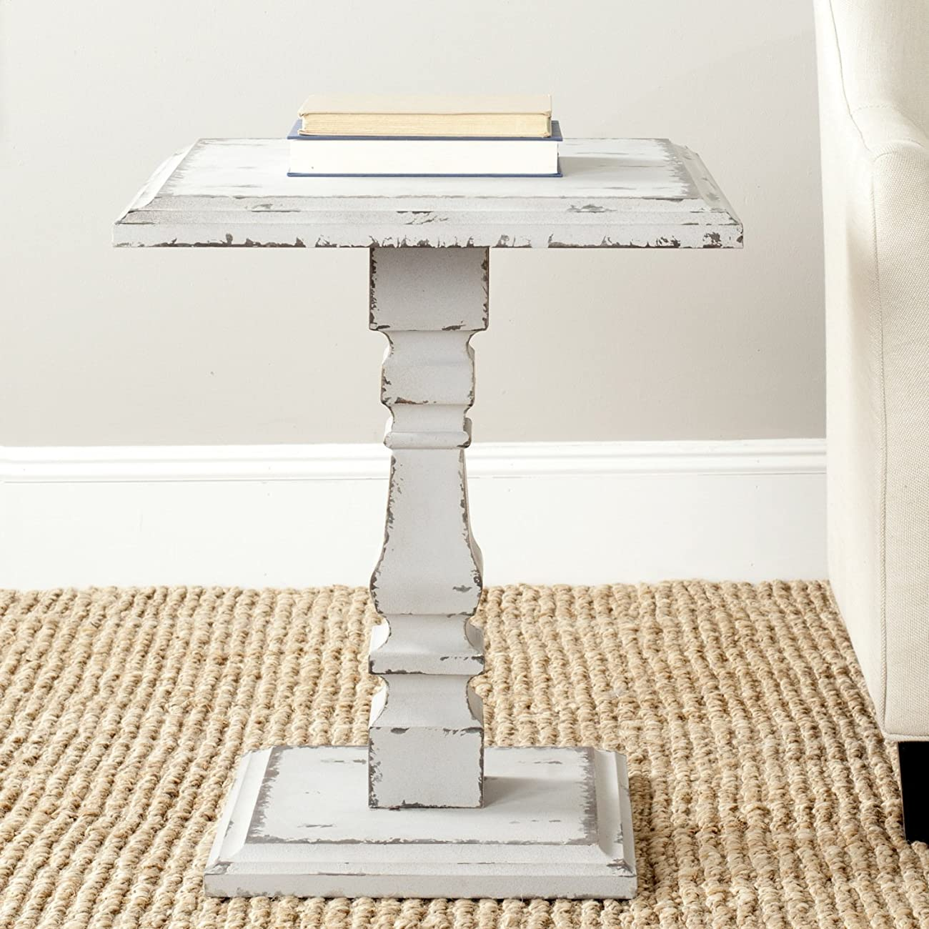 Safavieh American Home Collection Angela Antique White Side Table 0