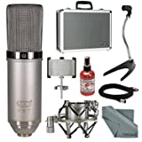 MXL V67G HE Heritage Edition Large Capsule Condenser Microphone Bundle with Stand+Sanitizer+Cable + FiberTique Cloth