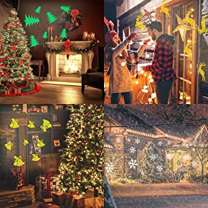 Dr. Prepare DPL-1CL02, IP65 Waterproof, Rotating Patterns, Remote Control, and 9.85ft Power Cord, Indoor Outdoor Decoration Light of Party, Garden, Christmas Projector (Color: Christmas Projector)