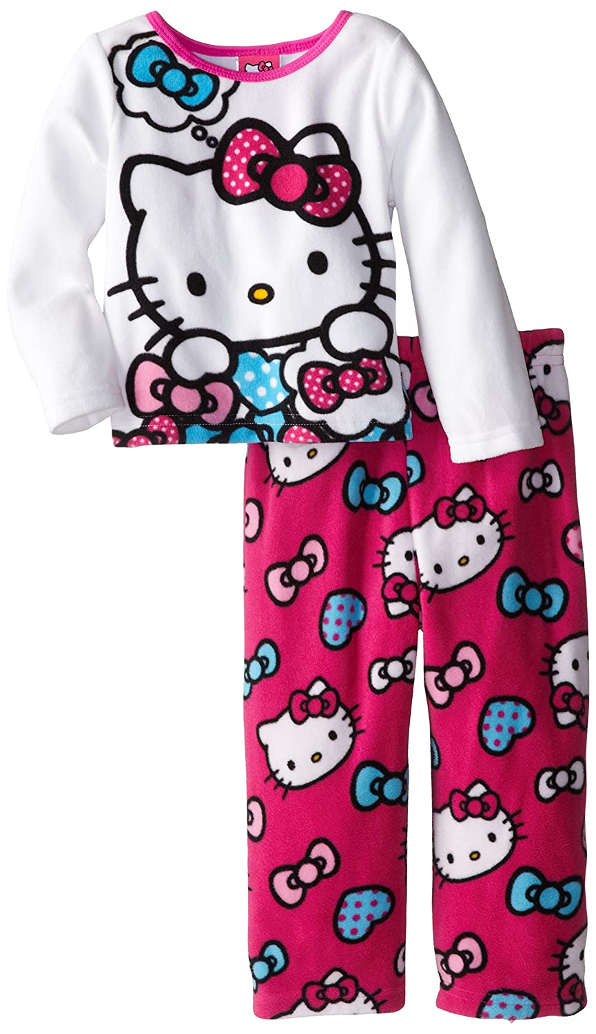 Hello Kitty Little Girls'Hearts and Bows Cozy Fleece Pajama Set free shipping hello kitty toys kitty cat fruit style pvc action figure model toys dolls 12pcs set christmas gifts ktfg010