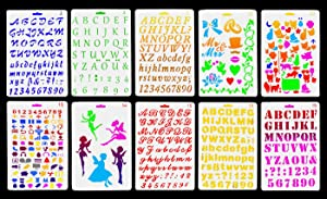 Vancool 10 Pack Plastic Letters Number Alphabet Bullet Journal Stencil Template, Perfect for Planner/Notebook/Diary/Scrapbook/Graffiti/Card, DIY Drawing Painting Craft Projects