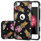 iPod 6 Case,iPod Touch 5 Case,iPod 7 Case,Fingic Slim Cover for Teenagers Colorful Pineapple Gold Shinny Star Pattern Case Protective Case for Apple iPod Touch 5/6th Generation,Floral Pineapple/Black (Color: T049-03 Black)