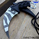 New TACTICAL COMBAT KARAMBIT NECK Survival Hunting WHITE Fixed For Practical Use iCareYou Durable Knife Blade SLAUGHTER (Color: white)