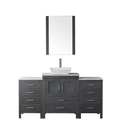 Virtu USA KS-70060-WM-ZG Modern 60-Inch Single Sink Bathroom Vanity Set with Polished Chrome Faucet, Zebra Grey