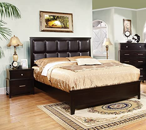 Furniture of America Chappelle 3-Piece Queen Padded Leatherette Platform Bedroom Set with 2 Nightstands, Espresso Finish