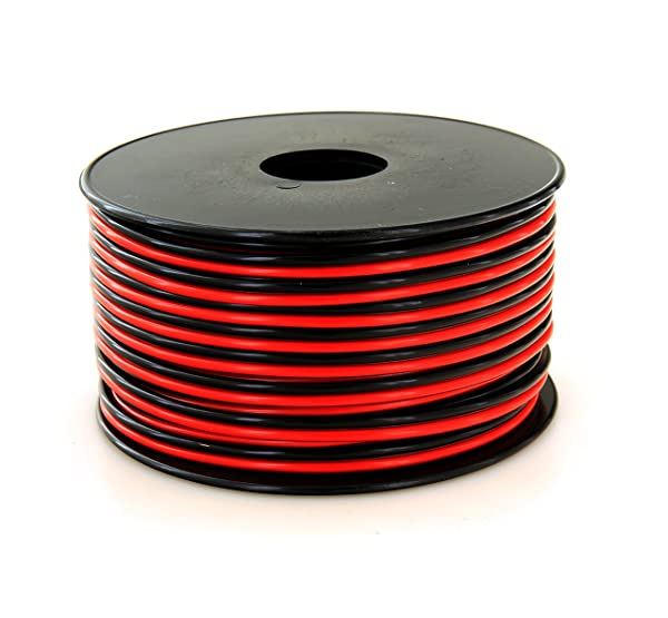 GS Power 16 AWG (American Wire Gauge) Pure Copper Stranded Flexible 100 feet Red & 100 ft Black Dual Conductor Bonded Zip Cord Cable for Car Amplifier Automotive Trailer Harness Wiring (Color: Red/Black, Tamaño: 100 ft)