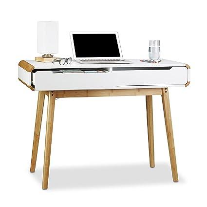 Relaxdays Schreibtisch mit Schubladen, Nordisches Design Schminktisch, Kinderschreibtisch HxBxT: 73 x 100 x 45 cm, weiß