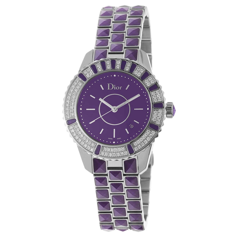 Christian dior women cd11311jm001 christal purple dial diamond watch tiktik watches for Christian dior watches