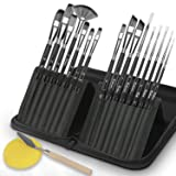 VIKEWE Professional Paint Brushes Set - 16 PCS Paint Brush with Oil Painting Knife and Sponge, Suitable for Acrylic, Watercolor, Oil and Gouache Painting, Perfect Paint Brush for Artist Kids (Color: Black)