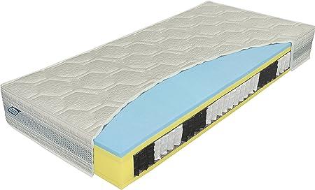 Materasso 909204 Polargel bio-ex 7-Zonen Taschenfederkern Matratze, Jersey, gelb / blau, 200 x 140 x 24 cm