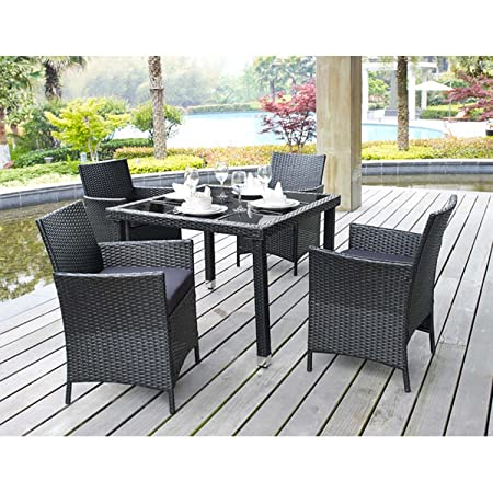 5 Piece Outdoor Patio Dining Set with Cushions - UV Weather Resistant Rattan Wicker Heavy Duty Steel Powder Coated Furniture - Rectangular Tempered Table with Umbrella Hole - Seat for 4 - Black Finish