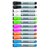 U Brands Liquid Glass Board Dry Erase Markers with Erasers, Low Odor, Bullet Tip, Assorted Colors, 12-Count