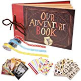 Our Adventure Book Scrapbook Photo Album Handmade DIY Scrapbook Album Expandable 80 Pages with Accessories Kit Wonderful Gift for Family Anniversary Wedding Birthday Thanksgiving Day (Movie Classic) (Color: Movie classic)