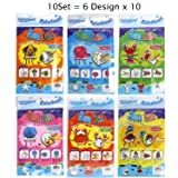 Gift Expressions 10 Set of 6 Designs Colorloon Form Cray Paint Colors On The Balloon Kidscrafts School Art Craft (Sea Life, 10 Sets) (Color: Sea Life, Tamaño: 10 Sets)