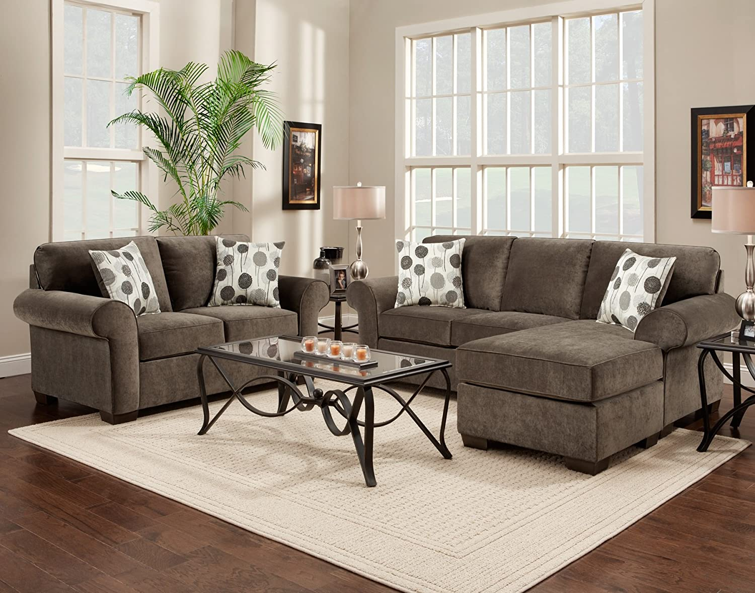 Roundhill Furniture Fabric Loveseat with 2 Pillows - Elizabeth Ash