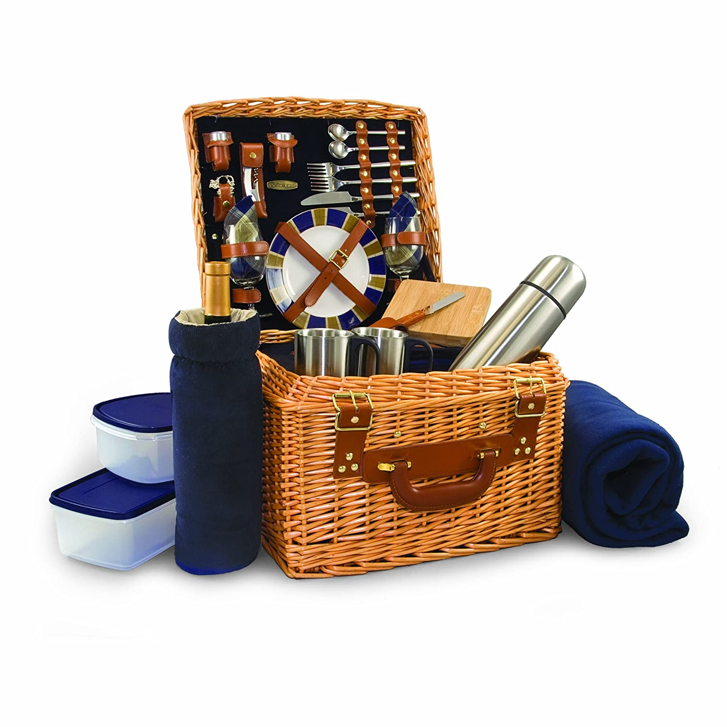 Picnic Time Canterbury English Style Picnic Basket with Deluxe Service for Two