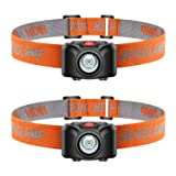 Ledeak Led Headlamp Flashlight, Super Bright CREE Head Lamp Lightweight, Waterproof Adjustable Compact Headlight, 2 Pack Portable Light Prefect for Camping Running Outdoor Hiking Walking (Color: Black + Orange, Tamaño: 2.25 x 1.5 x 1.48 inches)