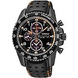 Seiko Solar Chronograph Black Dial Leather Strap Men's Watch SSC273 (Color: Black)