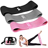 Resistance Bands, ZJTL Strength Booty Bands, Fabric Elastic Loop Exercise Bands, Fitness Hip Bands for Legs and Butt, with Workout Book and Carry Bag