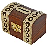 Antique Inspired Safe Money Box Piggy Bank Wooden Toys And Game by ShalinIndia (Color: Brown, Tamaño: 4 X 3 inch)