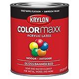 Krylon K05616007 Colormaxx Brush On Paint, Quart, Banner Red (Color: Banner Red, Tamaño: Quart)