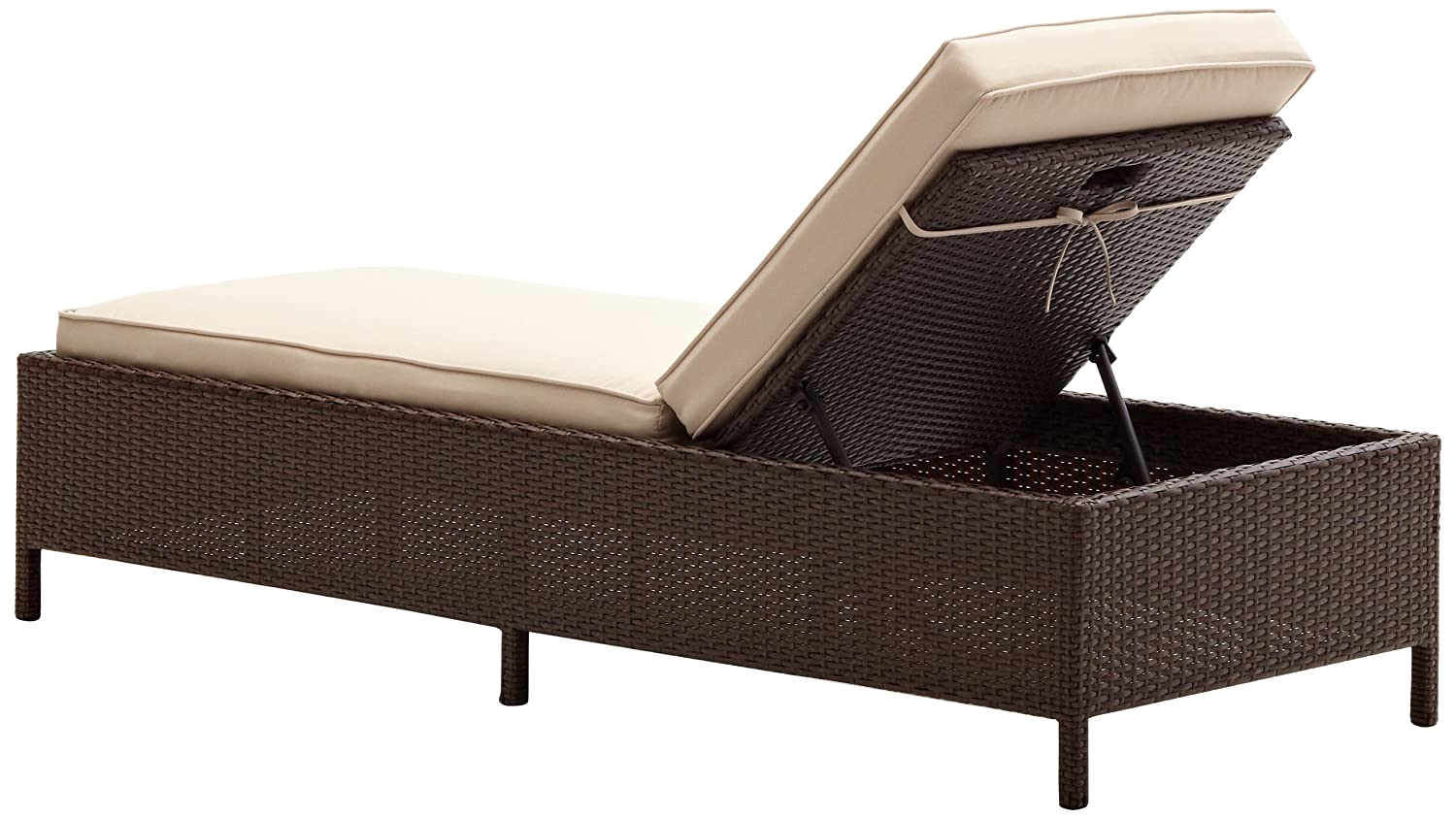 All weather wicker chaise lounge woven w beige polyester for All weather chaise lounge