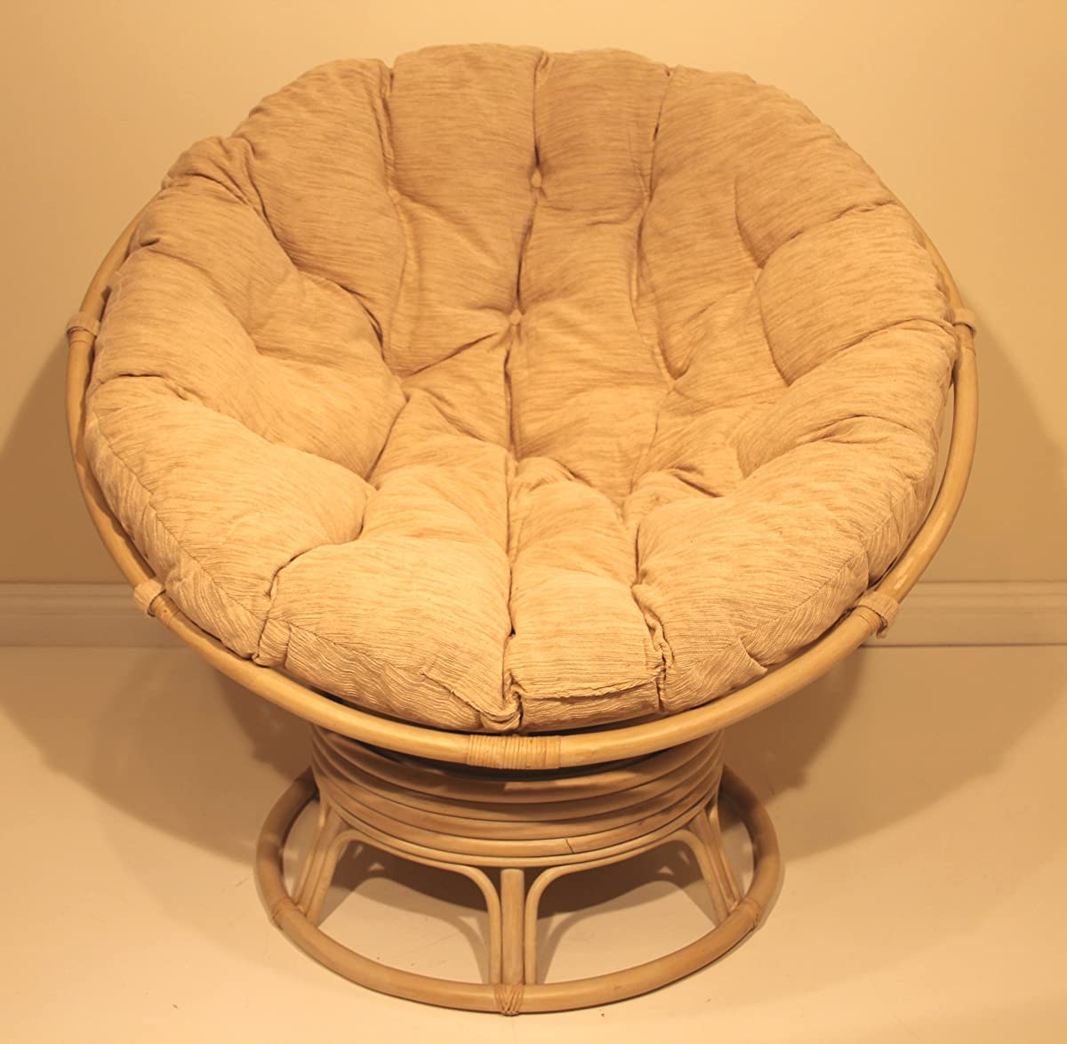 Rattan Wicker Swivel Rocking Round Papasan Chair With