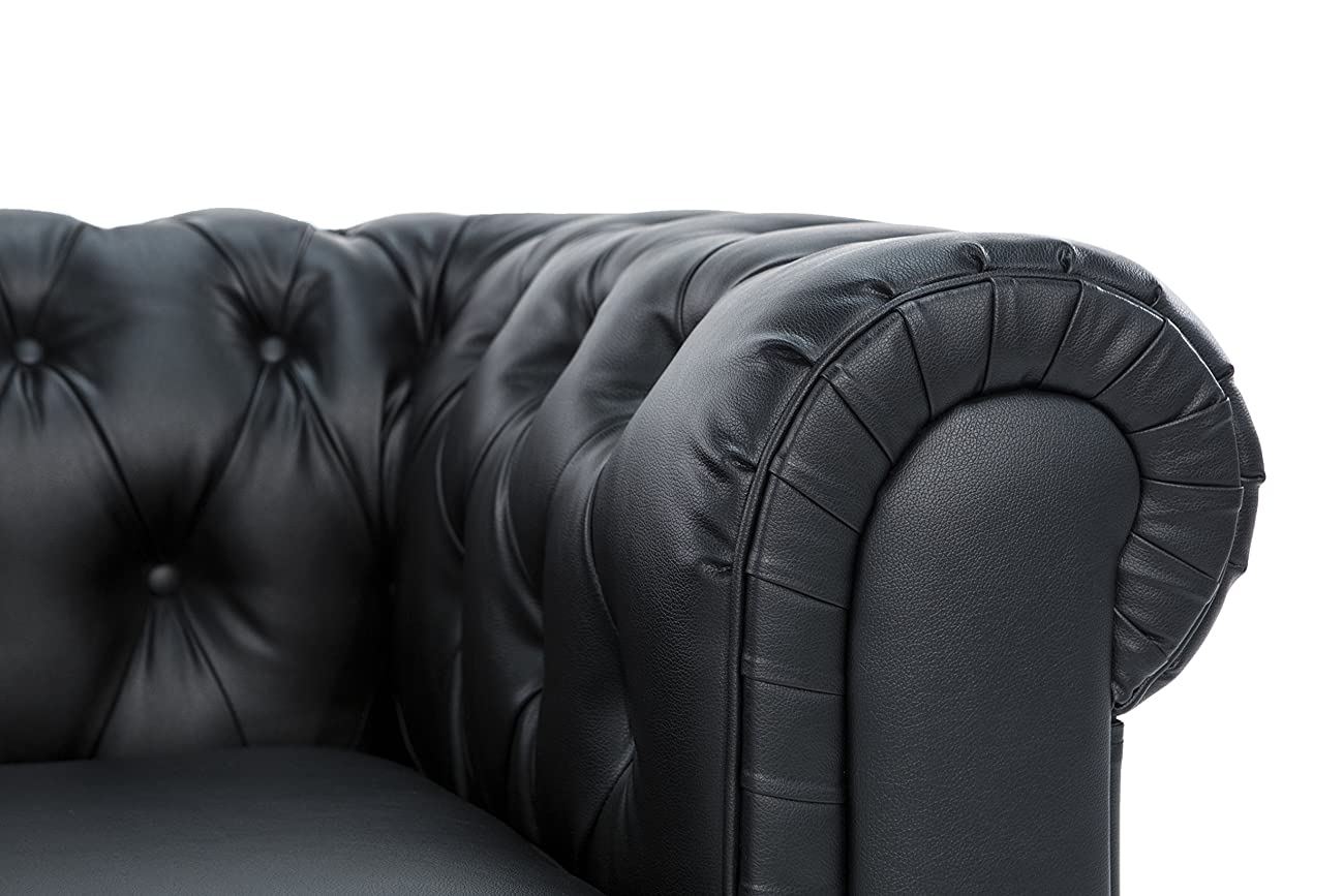 Classic Scroll Arm Tufted Bonded Leather Chesterfield 2 Seater Loveseat (Black) 2