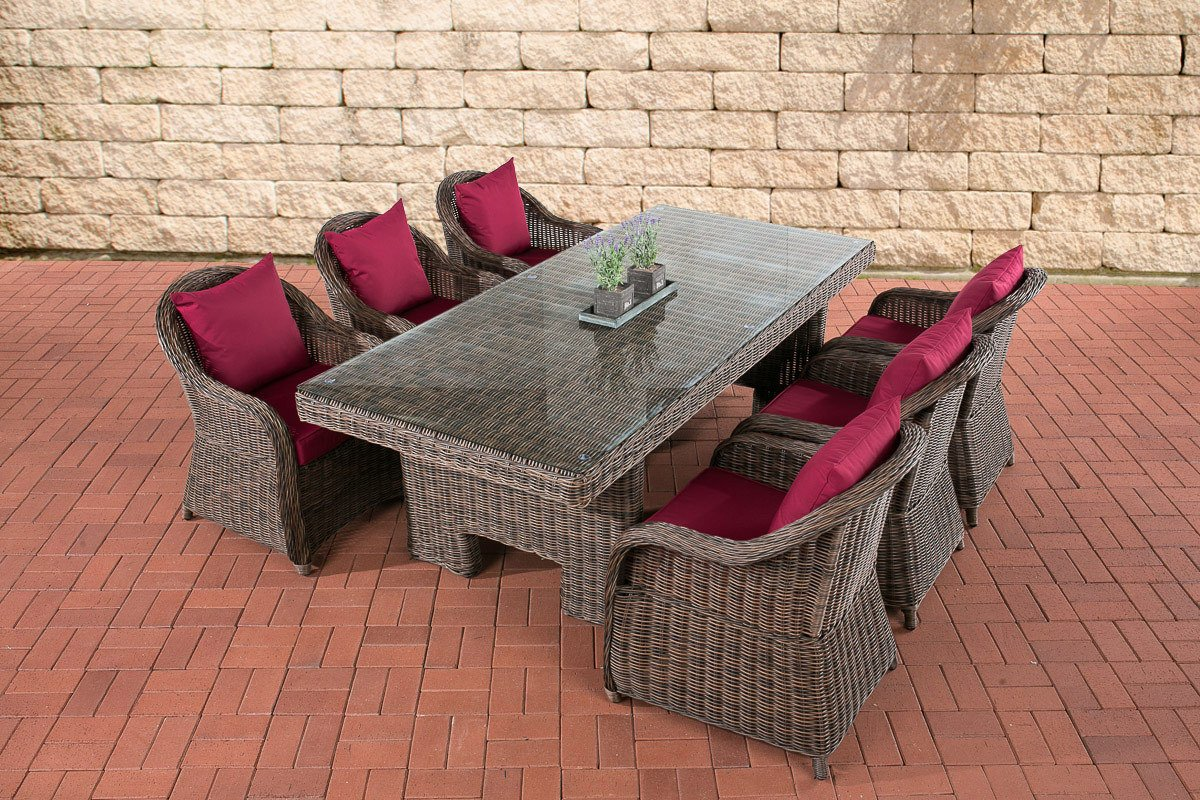 CLP Polyrattan Sitzgruppe CANDELA braun-meliert, 6 Sessel inkl. Polster + Tisch 220 x 100 cm, 5mm Rundrattan braun-meliert, Bezugfarbe rubinrot jetzt kaufen