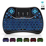 [7-Color Backlit] Wireless Mini Keyboard Touchpad Air Mouse Multimedia Button,2.4Ghz USB Handheld Keyboard Hometheater Remote Control for Kodi,TV,PC,Laptop,HTPC,XBOX,Android TV Box,Raspberry Pi 3 B+ (Color: Black, Tamaño: mini)