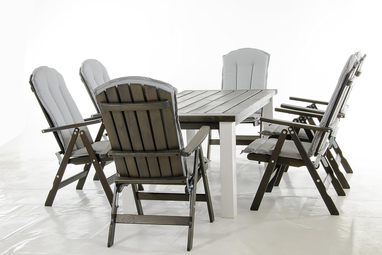 Ambientehome 90288 Exclusive Gartensitzgruppe Essgruppe Tisch Marihamn mit 6 verstellbaren grauen Sesseln Stranda graue Kissen