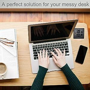 Desktop Conference Room Power Grommet Outlet, FITS 3 1/8 - 3 1/4 Hole, 2 (TR) AC Outlets, 2 USB Charging Ports, 1 CAT6, 1 Phone line, ETL Listed (BLACK) (Color: DC-8489- Fit 3.15 - 3.25 W/ CAT6 - BLACK)