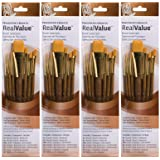 Princeton Art & Brush P9143 Real Value Brush Set, Synthetic Gold Taklon, Round 2 and 4, Liner 2/0, Shader 2 and 6 (F?ur Pa?k, Gold) (Color: Gold, Tamaño: F?ur Pa?k)