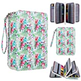 216 Slots Colored Pencil Case Organizer, Large Deluxe PU Leather Pencil Holder with Removal Handle Strap for Polychromos Pencils, Prismacolor Colored Pencil, Gel Pens Ideal Gift (Pencil Not Include) (Color: Flamingo Pattern)