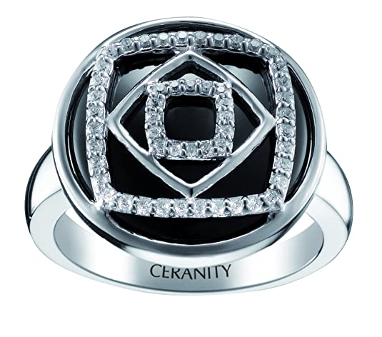 Ceranity 1-12/0071-N Women's Geometric Ring, Sterling Silver 5.79g, Ceramic and Zirconia, Black / White