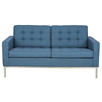 LeisureMod® Modern Florence Style Fabric Loveseat Sofa in Blue Twill Wool