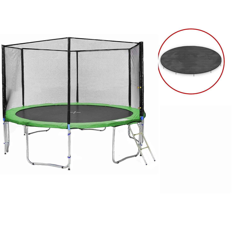 SB-400-GW Gartentrampolin 400cm incl. Netz, Leiter, Wetterplane, 180kg Traglast