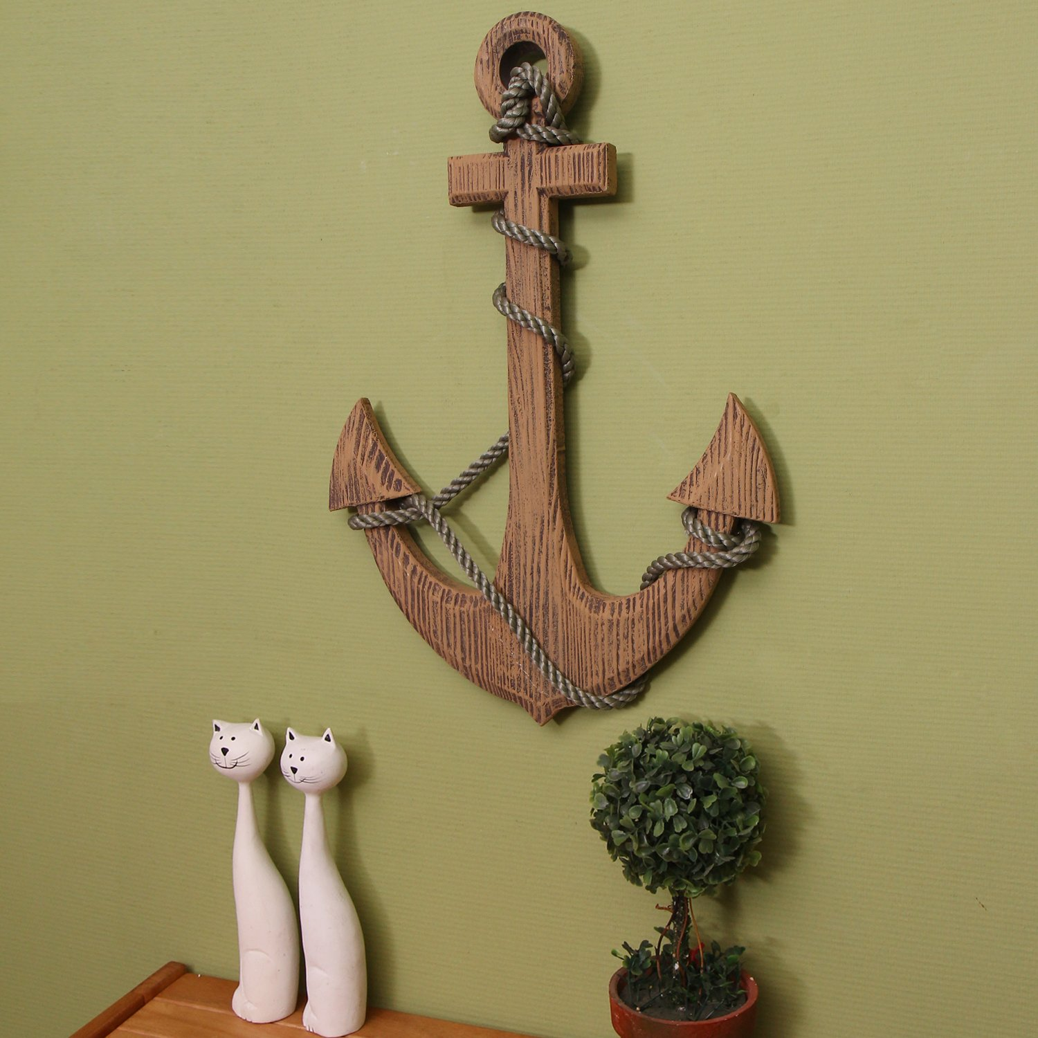 Adeco 24 39 39 maritime nautical wood decor anchor with for Anchor decoration
