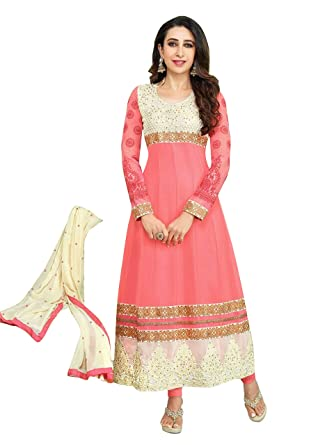 Mrig Womens Faux Georgette Anarkali Dress Material (El30016 _Pink _Free Size) at amazon