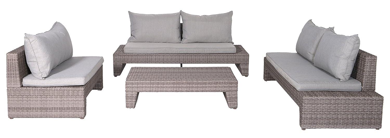 Garden Impressions 10821SO Lounge Set, Kreta Organic, 193 x 87 x 70 cm, Grau