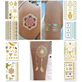 Metallic Temporary Tattoos for Women Teens Girls - 8 Sheets Gold Silver Temporary Tattoos Glitter Shimmer Designs Jewelry Tattoos - 100+ Color Flash Fake Waterproof Tattoo Stickers (Caicos)
