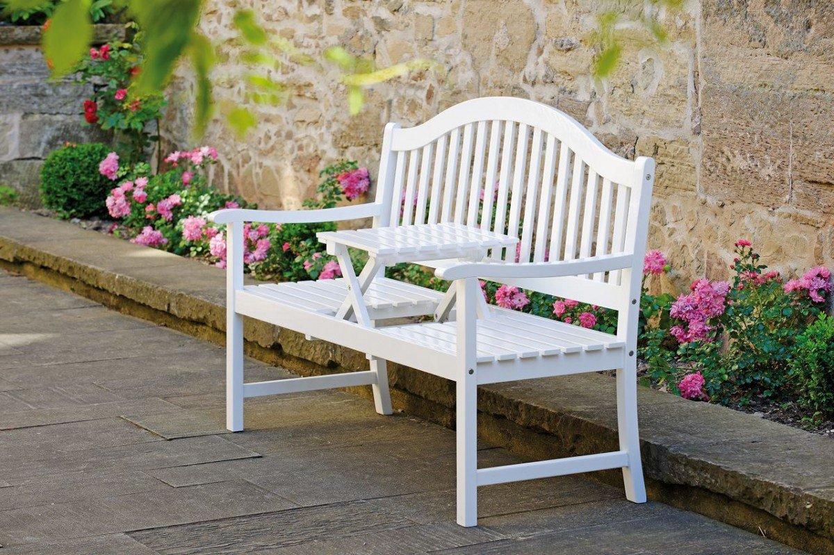 Dreams4Home Gartenbank 'Tara' - Bank, Gartenbank, Holzbank, Balkonmöbel, Gartenmöbel, Terrassenmöbel, Holzmöbel, Akazienmöbel, B/H/T: 150 x 92 x 65 cm, aus Akazie, in weiß lackiert