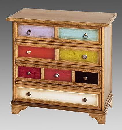 Comò cassettiera a 4 cassetti in legno colore laccato arlecchino