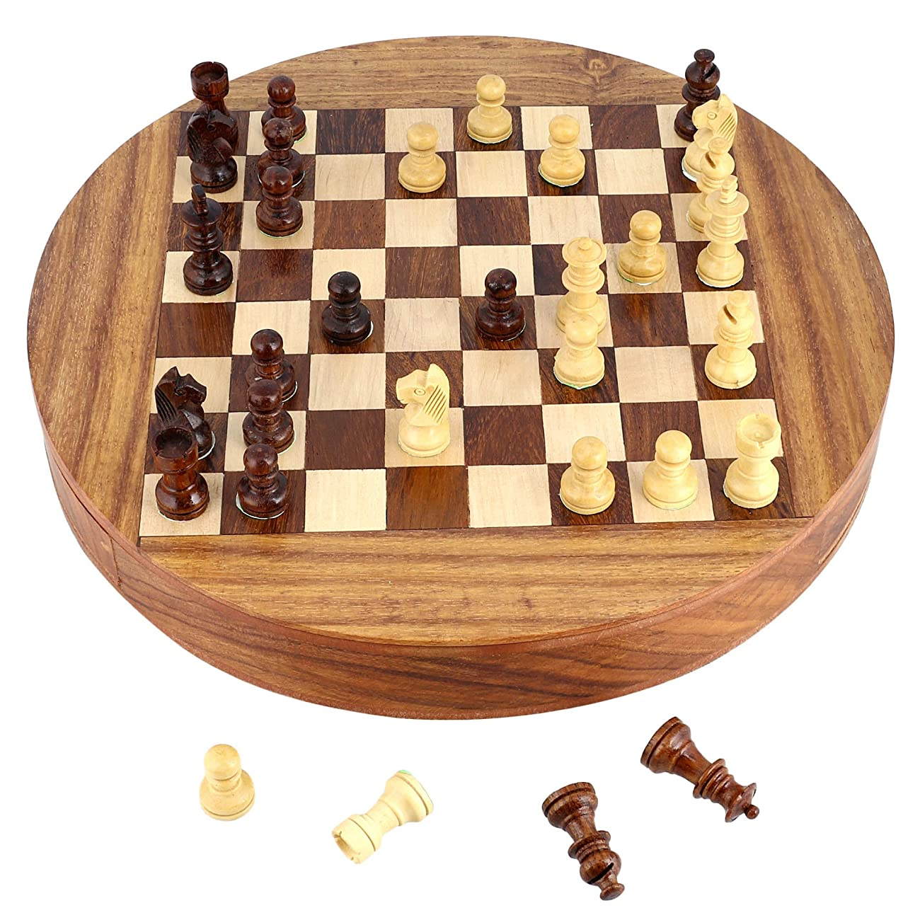 Unique Compact Box Magnetic Round Wooden Chess Board And Pieces Set Gift For Kids Adults 3
